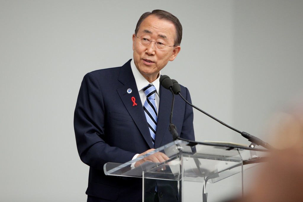 Secretary-General Ban Ki-moon at Launch of the Global Plan towards elimination of new HIV infections among children and keeping their mothers alive, at UN Headquarters, NYC, on June 9, 2011.