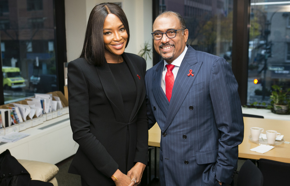 UNAIDS Executive Director Michel Sidibé, meeting with Naomi Campbell, following: 'Moving forward together: Leaving no one behind,' a special World AIDS Day event to honour the leadership of Secretary-General Ban Ki-moon and his legacy of leaving no on behind in the response to end the AIDS epidemic; held at UN Headquarters in NYC, on November 30, 2016.