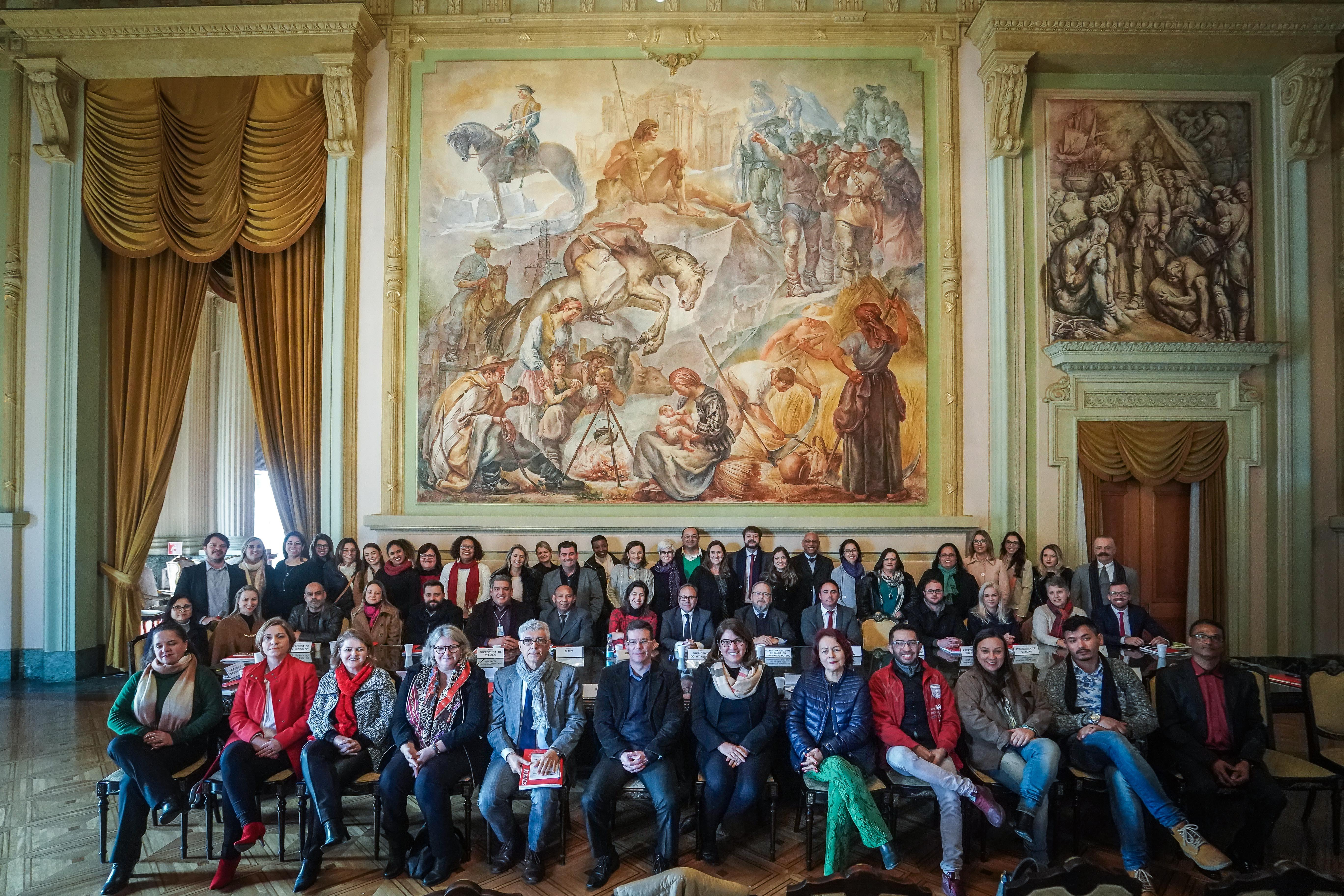Delegação do GT UNAIDS no Palácio Piratini, em Porto Alegre. Foto: UNFPA Brasil/Jefferson Bernardes