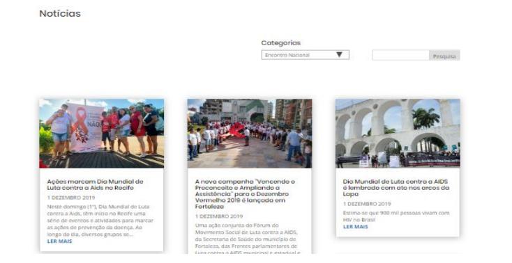 Em Institucional no menu superior, os visitantes poderão conhecer a missão, valores e história do movimento das cidadãs posithivas e ter acesso à estrutura organizacional.